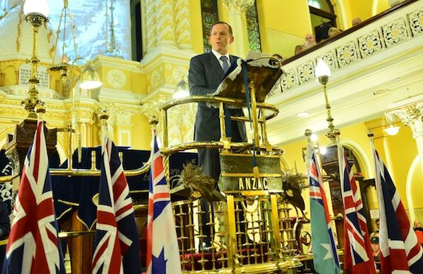 Prime Minister the Hon Tony Abbott MP, giving the 'Gallipoli' Address (Photo taken by Henry Benjamin for CoAJP)