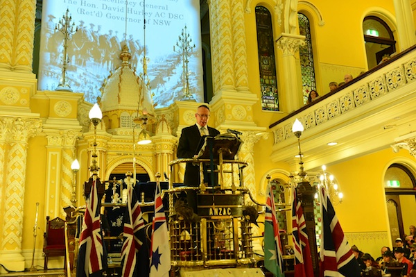 His Excellency General the Hon David Hurley AC DSO (Ret'd) giving the 'Anzac Centenary Commemorative Address' (Photo taken by Henry Benjamin for CoAJP)