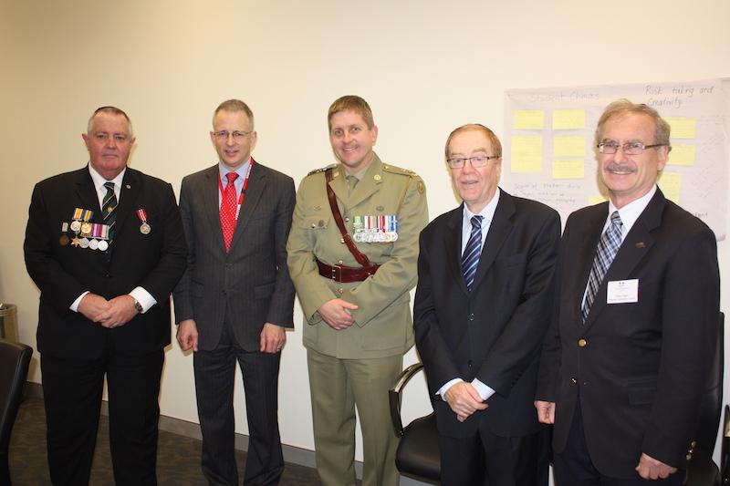 (l-r) Mr George Charlton, The Hon Paul Fletcher MP, Lt Col James McGann, Mr Roger Selby, Mr Peter Allen
